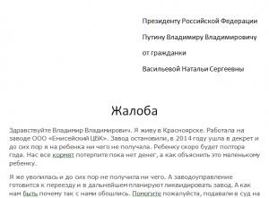 Образец письма в приемную Президента Путина В.В.